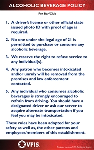 Alcohol clubs Policy For Bars Kit